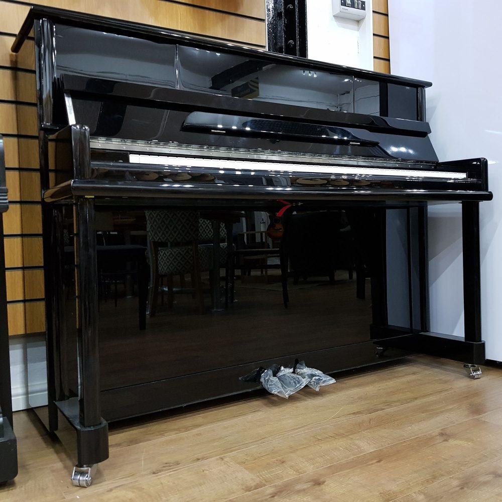 Steinhoven SU-112 upright piano, in a black polyester case, for sale.
