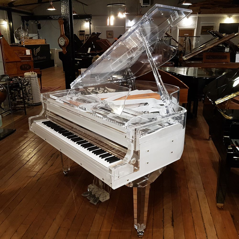 Steinhoven Crystal piano, based on GP170, in a crystal clear case.