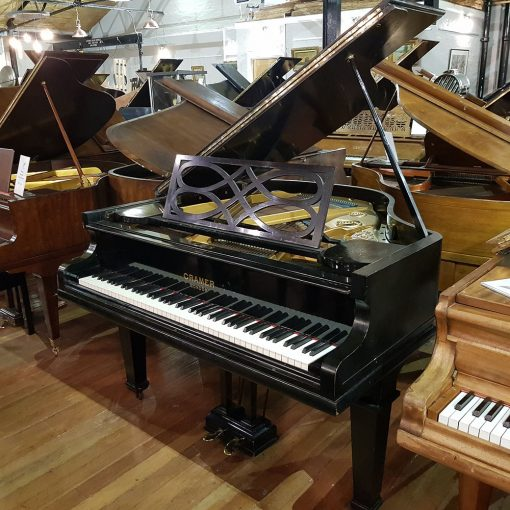 Used Cramer baby grand piano, in a black french polished case, for sale.