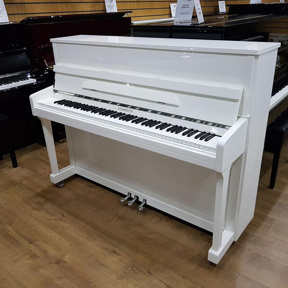 New Steinhoven SU-113 Upright Piano | White - Sherwood Phoenix