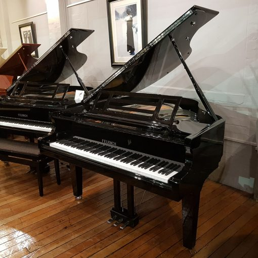 Feurich 162 Dynamic I baby grand piano, in a black polyester case.