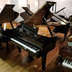 Steinhoven GP170 baby grand piano, in a black polyester case for sale.