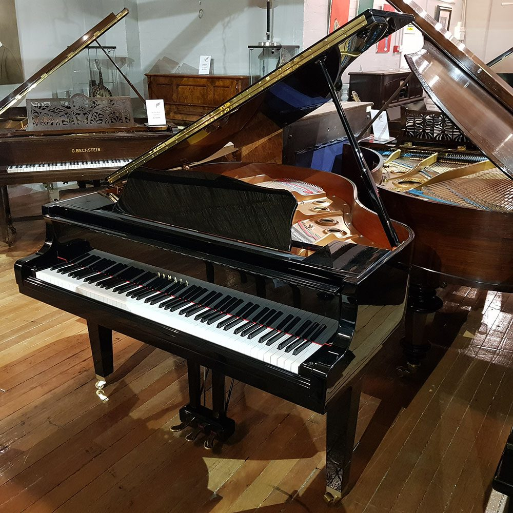 Yamaha GB1 baby grand piano, in a black polyester case, for sale.