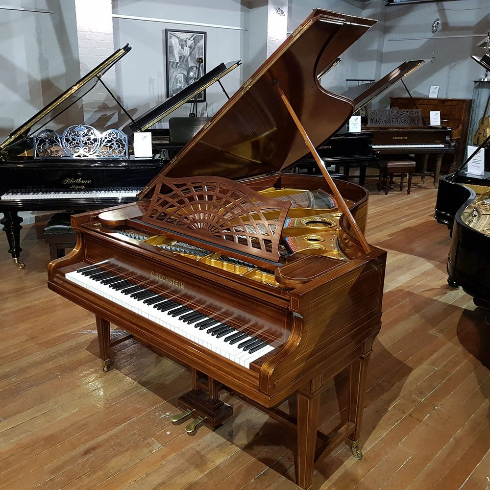 Used Bechstein Model B grand piano, Sheraton inlay detailing, for sale.
