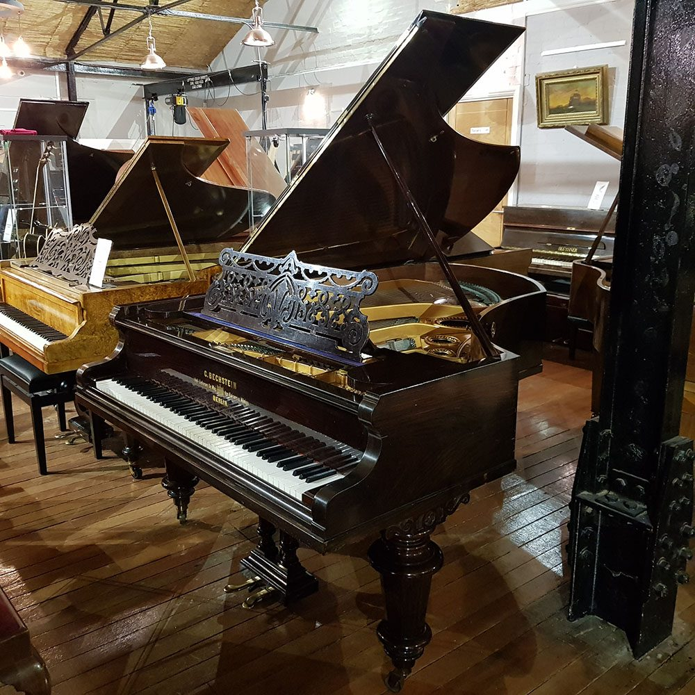 Used Bechstein Model V grand piano for sale in a rosewood case.
